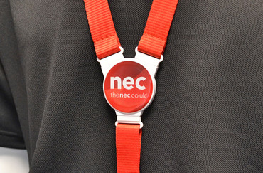 Printed and domed lanyards - Circle lanyard with a red strap | www.namebadgesinternational.co.uk